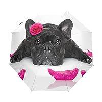Ethel Ernest Folding Windproof Umbrella French Bulldog With Rose Waterproof Auto Foldable Umbrella