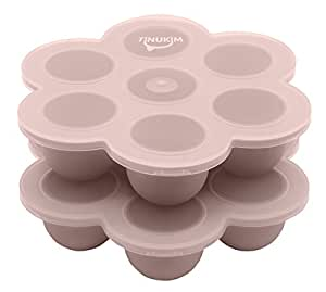 Tinukim Baby Food Freezer Storage Tray With Lid | 7 Portion Silicone Containers, 2oz Cups | Oven and Dishwasher Safe | 2 Set | Pink
