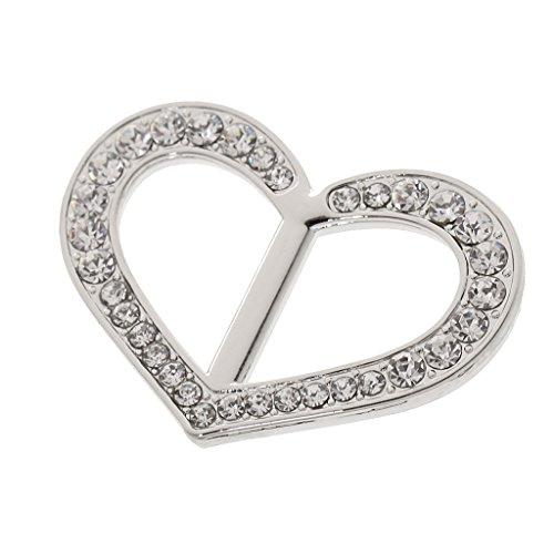 MagiDeal Elegant Crystal Rhinestone Heart Scarf Holder Buckle Ring Jewelry Gift