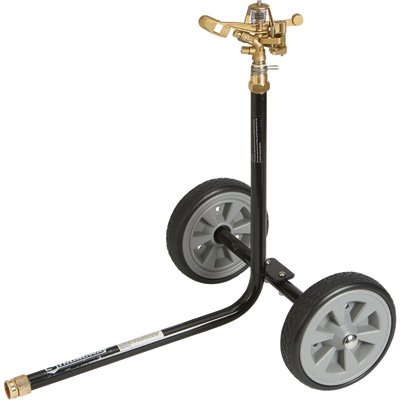 Strongway Wheeled Sprinkler - 3/4in. Brass Sprinkler Head with 2 Nozzles, 8in. Poly Wheels