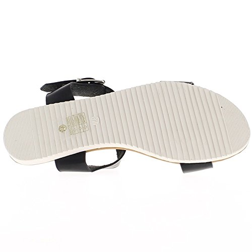 Piatto neri sandali con ampie flange