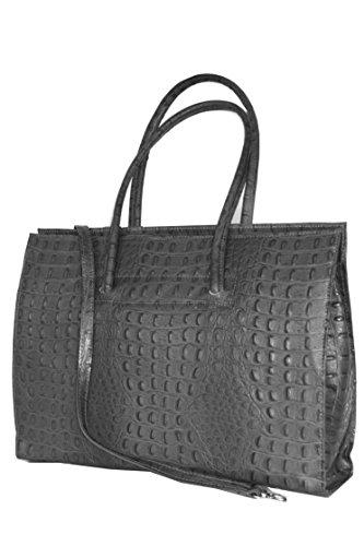 Sac à bandoulière en cuir pour ordinateur portable avec bandoulière (49 28 13 cm) en cuir Italie Mod 2026 P Cognac_croco