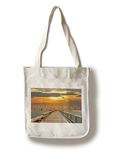 Pensacola Beach, Florida - Pier at Sunset (100% Cotton Tote Bag - - Pensacola Florida Shopping