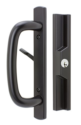 Veranda Sliding Glass Door Handle Set with Mortise Lock, Black, Keyed, 3-15/16