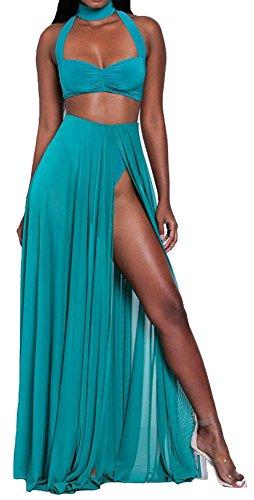 Women Sexy Crop Top Long Chiffon Skirt 2 Piece Set Outfit Slit Beach Club Dress