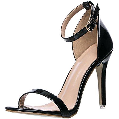 Femmes Sandales Noir BIGTREE Ouvert Bride Chaussures Verni Haut Faux Talon Cuir Bout Cheville de qEtFWrSt