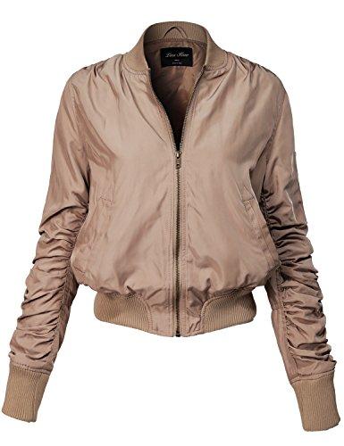 Warm Solid Color Shirring Sleeve Zipped Bomber Jackets 143-khaki (Basic Logo Wool Blend)