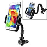 Universal Car Mount Lighter Plug Phone Holder with Charging USB port for iPhone 6 6S, Plus, 5S 5C 5 4S - Samsung Galaxy S6, S6 Edge, S5, S4, S3 Galaxy Note 5 4 3 2 Edge - LG G2 G3 G4 - HTC ONE M8, M9