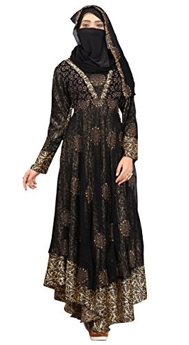 Justkartit Women's Georgette Abaya Burkha With Hijab Scarf & Waist Belt (Black_Chest Size : 40 Inch, Length : 58 Inch)