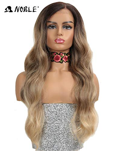 NOBLE Lace Front Wigs Long Wavy Brown Synthetic Easy 360 Lace Wigs for Women Natural Looking Body Wave Free Parting Wide Space Lace Replacement Go to Wigs (28inches, TAT4/12/613F)