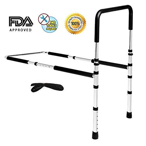 (High-Quality Stainless Steel Bed Assist Rail Handle, Medical Adjustable Hand Guard Grab Bar, Bed Safety and Stability (New Upgrade))