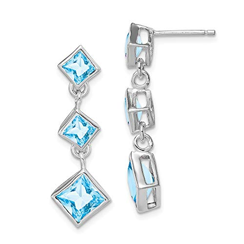 925 Sterling Silver Blue Topaz Post Stud Drop Dangle Chandelier Earrings Fine Jewelry Gifts For Women For Her