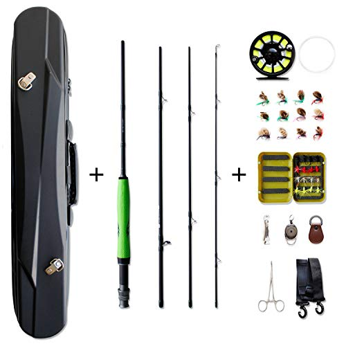 NetAngler Fly Fishing Rod and Reel Combo, 4-Piece 7'6 Rod 5/6 CNC Machined Reel Fly Fishing Complete Starter Package with ABS Carry Bag