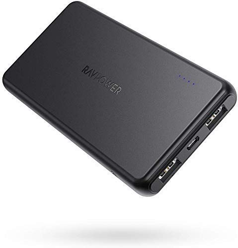 Portable Charger RAVPower 10000mAh Power Bank, Dual USB Ports Ultra Slim External Battery Pack Total 3.4A iSmart Output Charger, Light External Battery Compatible with iPhone, Samsung Galaxy and More
