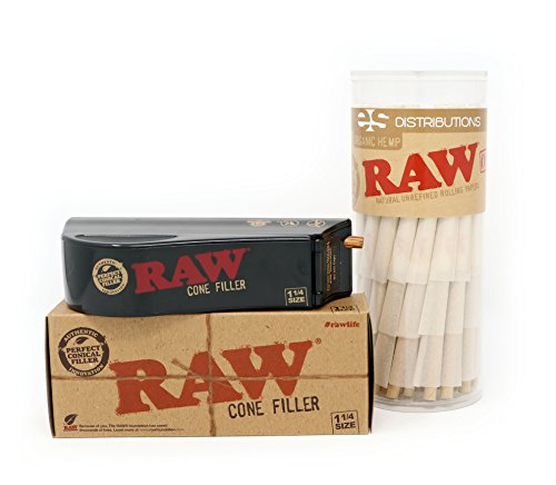 RAW Organic 1 1/4 Pure Hemp Pre-Rolled Cones With Filter (75 Pack + Cone Filler) by RAw