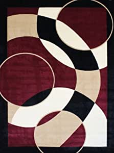 1052 Burgundy 3 9x4 9 Area Rugs Modern Contemporary Abstract Black Ivory Beige Carpet Furniture Decor Amazon Com