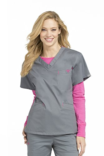 Med Couture Signature Women's V-Neckline 3 Pocket Scrub Top, Steel/Cotton Candy, Small ()