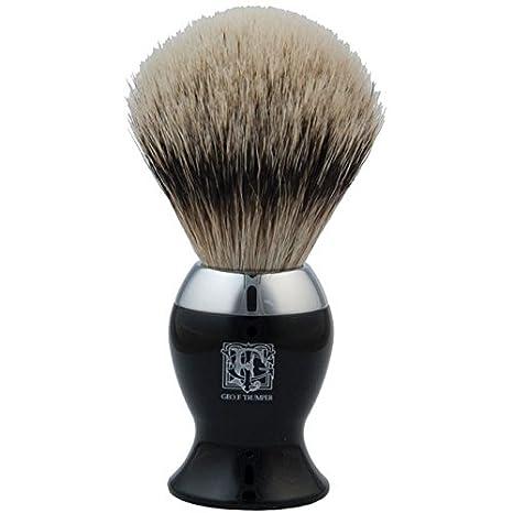 Geo F Trumper Black & Chrome Super Badger Hair Shaving Brush