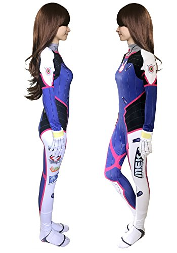 Another Me Women's Costume D.Va Hana Song Lycra Fabric Bodysuit Digital Printing Cosplay Suit for Girls