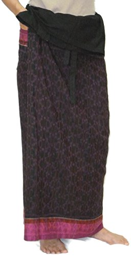 Stripe Skirt Silk (Moose546 Thai Silk Cotton Blend Adjustable Maxi Long Skirts Wrap Boho for Women #LS-007 Pink Stripe)