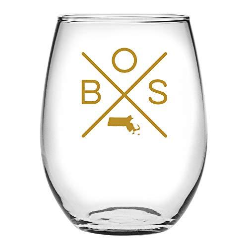 Susquehanna Glass Boston Cross Stemless Wine Glass (Gold)