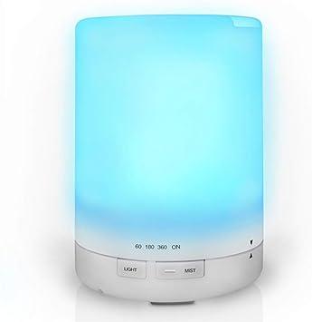 Humidificador Ultrasónico Difusor De Aromaterapia, Vapor Frío Con Luces LED De Color, Difusor De Aceites Esenciales Sin Agua Con Apagado Automático: Amazon.es: Salud y cuidado personal