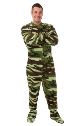 Big Feet Pjs Green Camo Micro-Polar Fleece Adult Footed PJs w/Drop Seat (L)