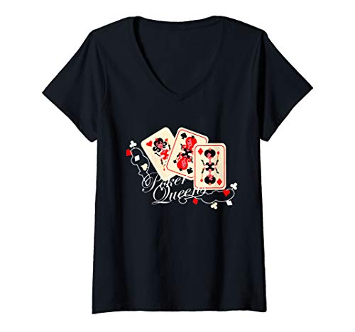 Vegas Halloween Ideas (Womens Poker Queen Playing Card Gambling Poker Gift V-Neck)