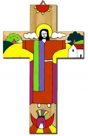 Christ is Risen Cross. Wood Crucifix from El Salvador.10''(25 cms) high