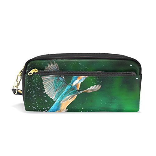 Spray Makeup Pouch - Hummingbirds Bird Spray Print Pu Leather Pen Pencil Case Pouch Case Makeup Cosmetic Travel School Bag