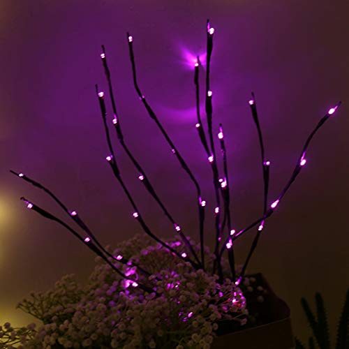(LED Lantern Branch Strings Light,Warm Simulation Twig Lights, Waterproof Outdoor and Indoor Home Decor Lights Bedroom, Living Room, Wall, Garden, Terrace, Party. (Purple))