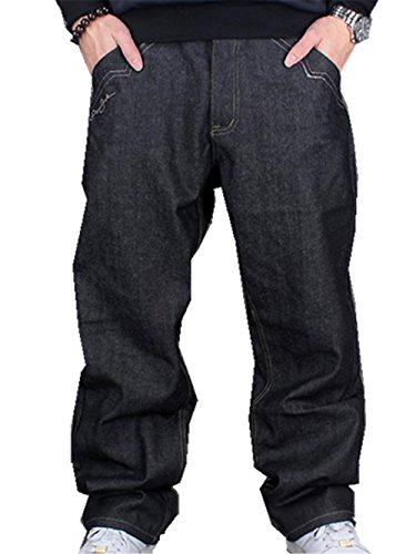 Yy Rui Mens Classic Plain Loose Hip Hop Dance Casual Baggy Black Jeans Denim 32