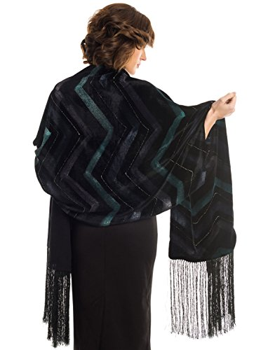 Elizabetta Women's Black Silk Velvet Evening Wrap Shawl, Silk Lined, Fringed by Elizabetta