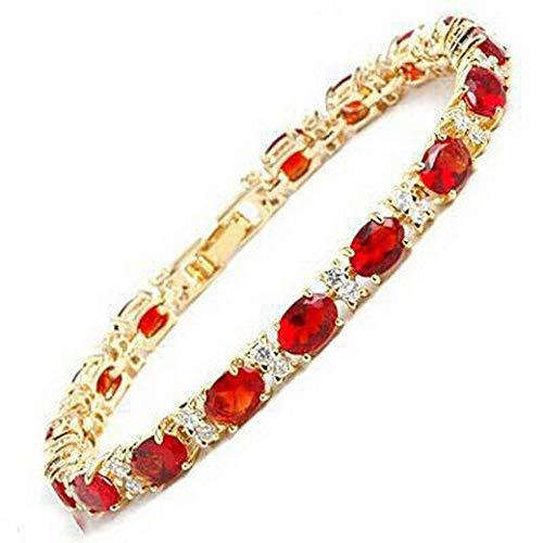 FidgetFidget Fashion Red Cubic Zirconia Ruby 18KGP Crystal Link Clasp Bangle Bracelet