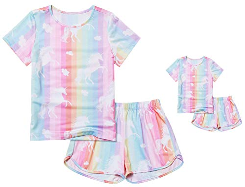 5t Pajamas Girls Shot Sleeve Summer Pjs Set Matching America Girl Doll Clothes