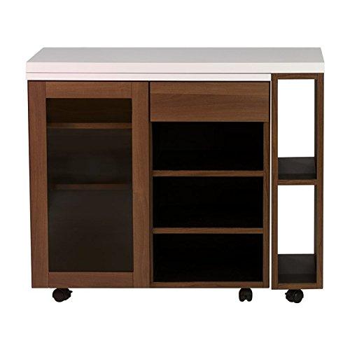 ISSEIKI キッチンカウンター 幅90cm ミディアムブラウン+ホワイト MODE COUNTER 90 (MF-WH+MBR) 完成品 キャスター 幅90 B07D4D51D8