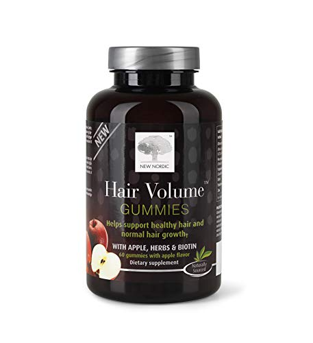 New Nordic Hair Volume Gummies 60 Count Hair Growth Supplement with Biotin
