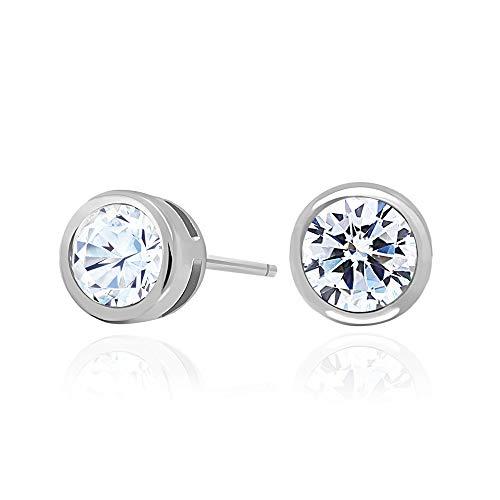 Spoil Cupid 925 Sterling Silver Bezel Set Cubic Zirconia Stud Earrings