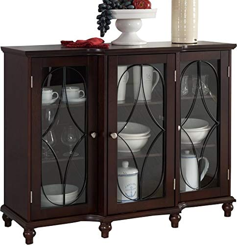 Wood Console Table with Glass Doors - Console Table with Shelves and Cabinets - Dark ()