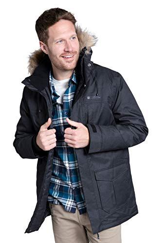 Mountain Warehouse Gorge Mens Long Jacket – Waterproof Raincoat, Breathable, Lightweight, Faux Fur Hooded Winter Coat…