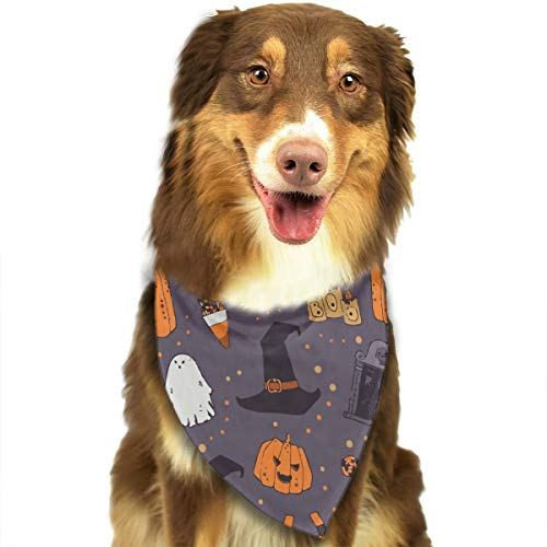 YanHill Halloween Pumpkins Headstone Witches Hat Pet Bandana Triangle Dog Cat Neckerchief Bibs Scarfs Accessories for Pet Cats and Baby Puppies