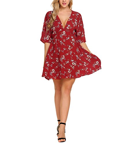 ACEVOG Women Deep V-Neck Vintage Floral Printed Bohemian Swimsuit Cover Ups Casual Loose Tunic Tops Beach Dress(Pattern 2,M) - Sexy Top Hat