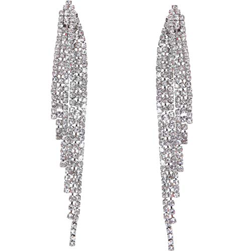 Humble Chic Simulated Diamond Earrings - Darling Waterfall Tassel CZ Statement Chandelier Studs, Silver-Tone Angel Wing