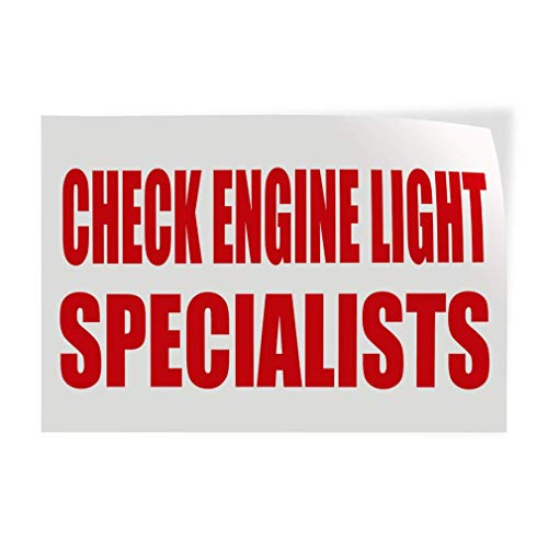 Check Engine Light Specialists Business Automotive Check Engine Light Outdoor Store Sign White Aluminum Metal Sign for Garage Easy to Mount Indoor & Outdoor Use ()