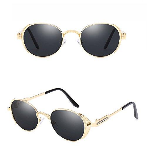 Gris métallique Unisex lunettes Retro soleil Lunettes Or Cercle Steampunk Rond UV Bmeigo de Protection wTFZqB