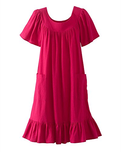 National Crinkle Cotton Dress, Cranberry, 3X