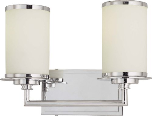 Minka Lavery Wall Light Fixtures 3722-77-PL Vanities Glass Bath Vanity Lighting, 2 Light, 26 Watts Fluorescent, (Chrome Fluorescent Lock)