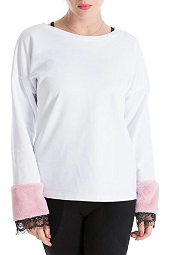 Faux Neck Casual Fur today Womens Sweatshirt Round White Sleeve Pullover Stitching UK qZwn4Xa