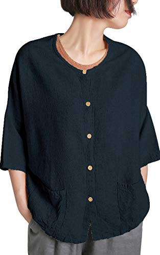 - Ecupper Women's 3/4 Draped Sleeve Button Down Loose Linen Rayon Long Tunic Blouse Shirts Navy US(4-6)/Tags