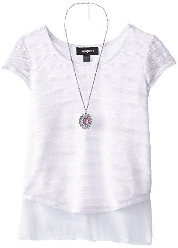 Amy Byer Big Girls' Short Sleeve Sweater Knit Top, White, Medium